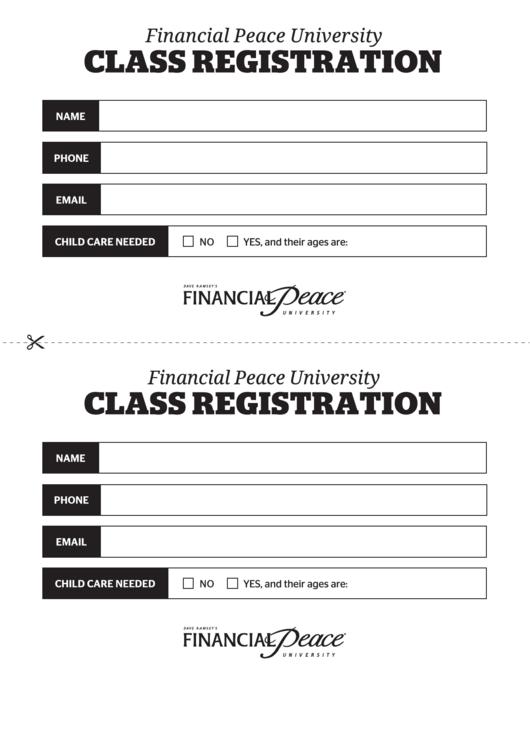 Financial Peace University Class Registration Form