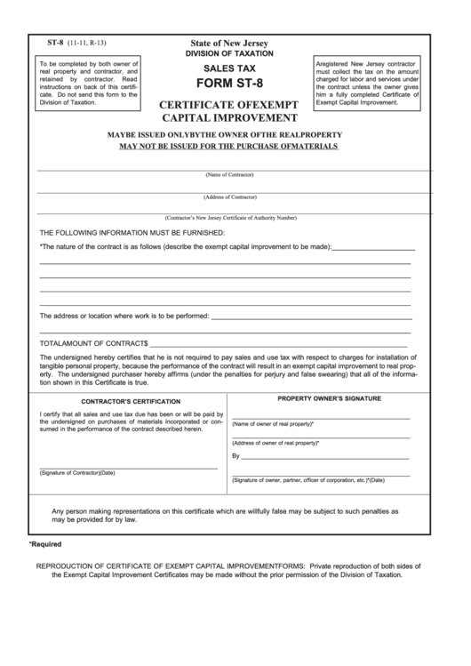 Form St-8 - Certificate Of Exempt Capital Improvement - New Jersey ...