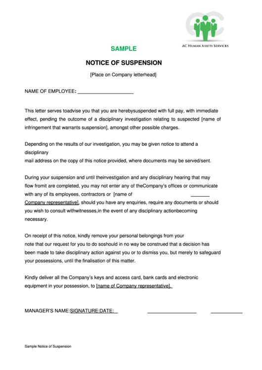 sample notice of suspension form