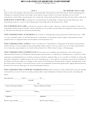 Declaration Of Domestic Partnership Form - County Of Champaign, Illinois