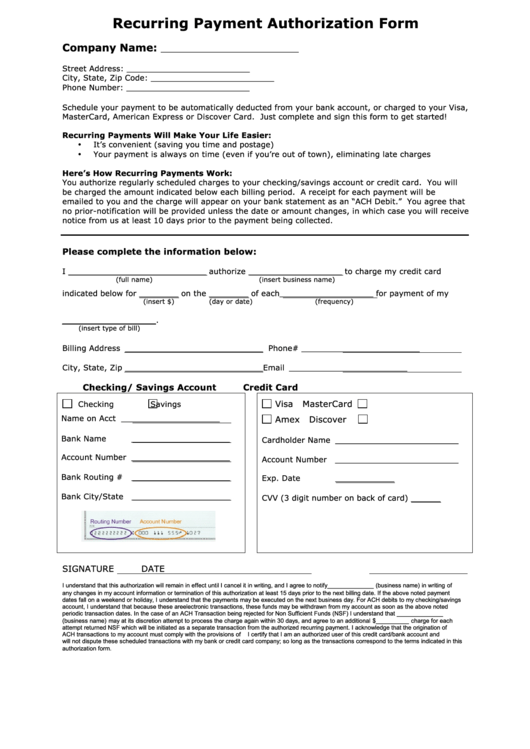 recurring payment authorization form with credit card
