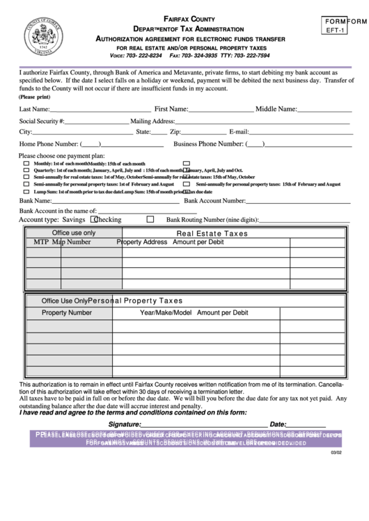 Fairfax County Personal Property Tax >> Form Eft-1 - Authorization Agreement For Electronic Funds Transfer For Real Estate And/or ...