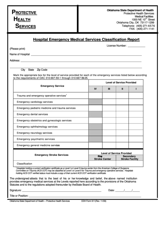 Hospital Emergency Medical Services Classification Report