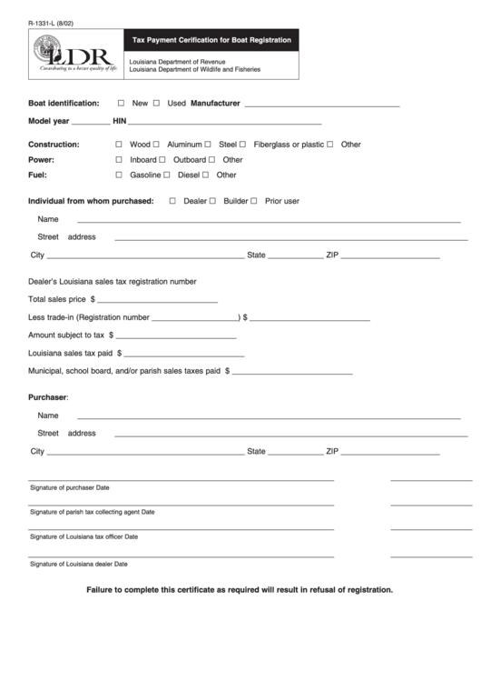Fillable Form R-1331-L - Tax Payment Cerification For Boat Registration - Louisiana Department Of Revenue - 2002 Printable pdf