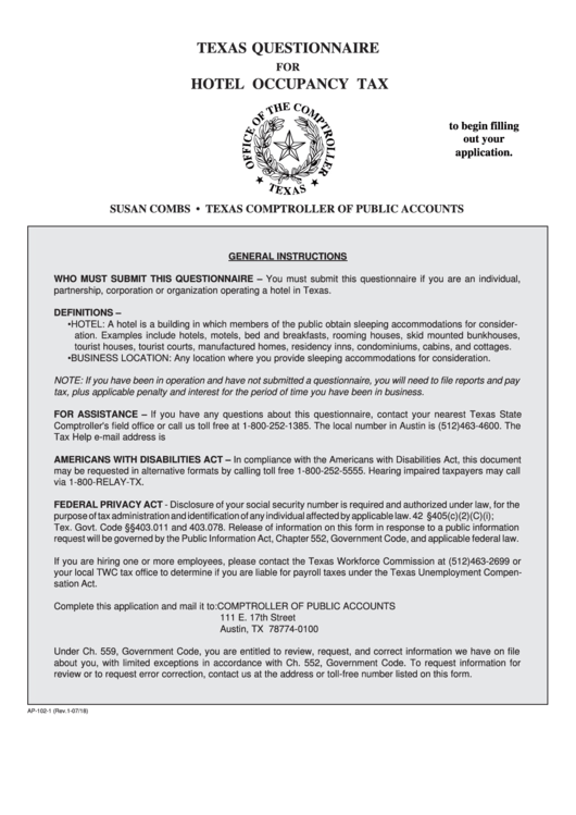 Form Ap-102-1 - Texas Questionnaire For Hotel Occupancy Tax ...