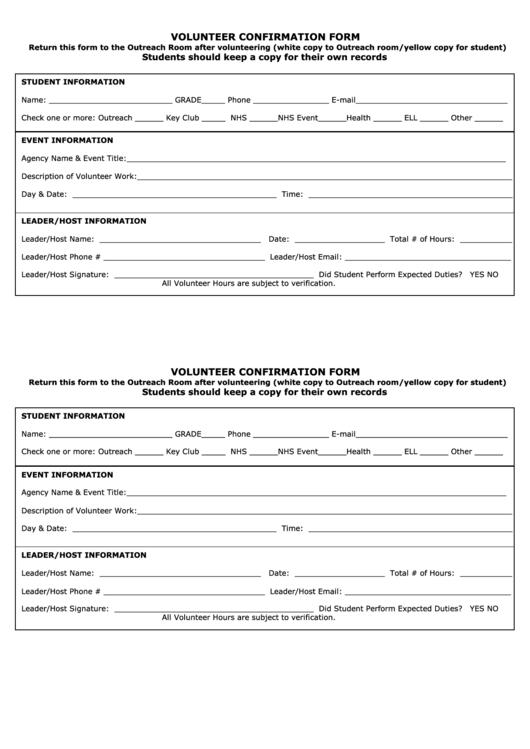 Volunteer Confirmation Form