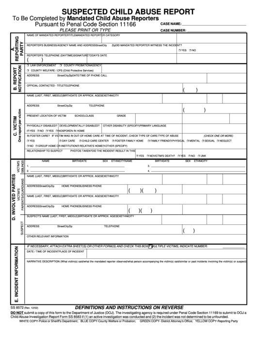 Top 14 Suspected Child Abuse Report Form Templates free to ...