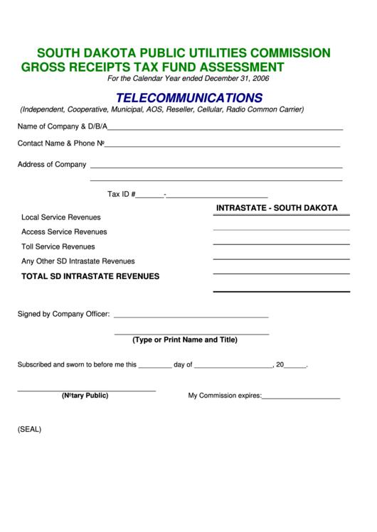 Gross Receipts Tax Fund Assessment Form - South Dakota Public Utilities Commission Printable pdf