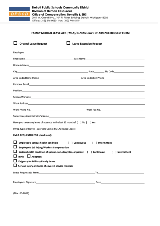 Family Medical Leave Act (fmla)/illness Leave Of Absence Request Form