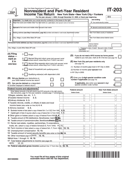 Form It-203: 2005 - Nonresident And Part-Year Resident Income Tax Return Printable pdf