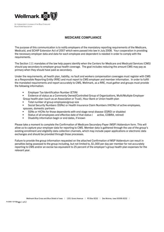 Form N-2305 - Confirmation Of Msp Addendum