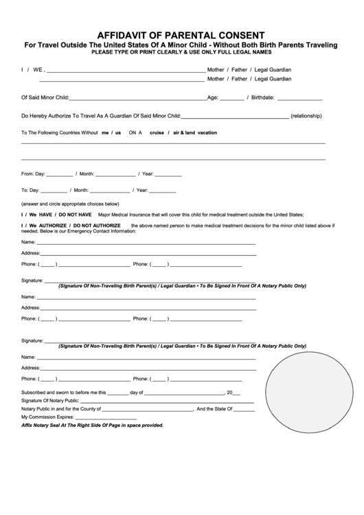 Affidavit Of Parental Consent Form - For Travel Outside ...