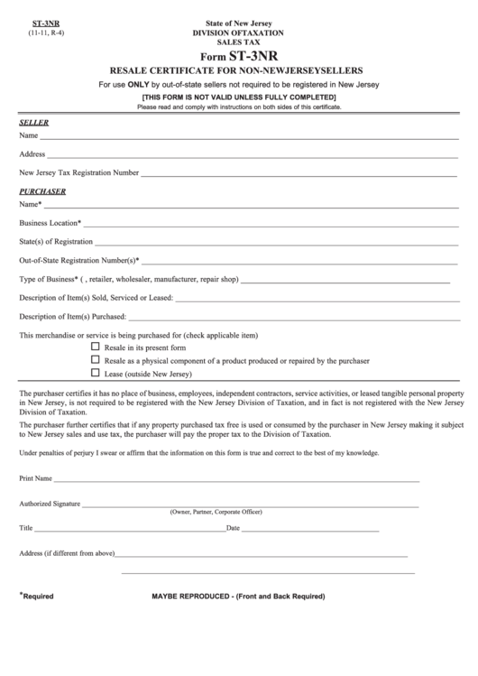 Fillable Form St-3nr - Resale Certificate For Non-new Jersey Sellers ...