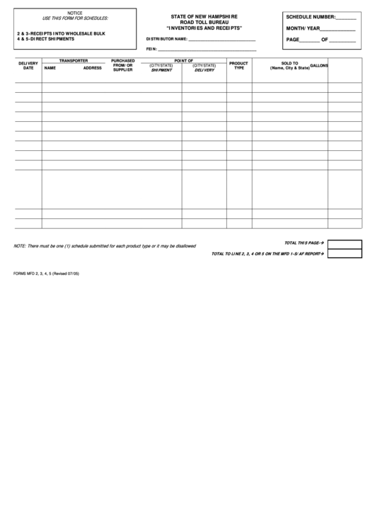 Form Mfd For Schedules 2, 3, 4, 5 - Inventories And Receipts - Nh Road Toll Bureau - 2005 Printable pdf