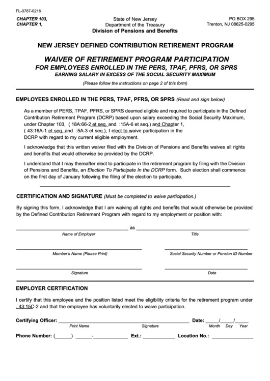 Form Fl-0787-0216 Nj Dcrp Waiver Of Retirement Program Participation For Employees Enrolled In The Pers Or Tpaf