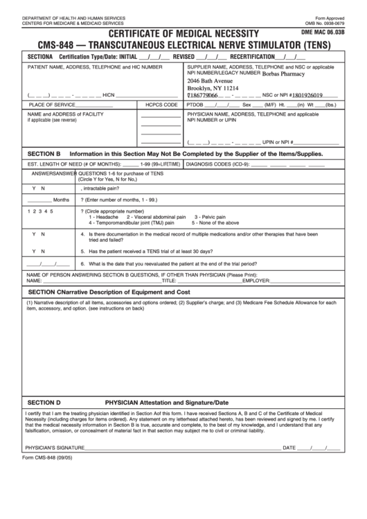 Form Cms-848 Certificate Of Medical Necessity Cms-848 - Transcutaneous Electrical Nerve Stimulator (tens)