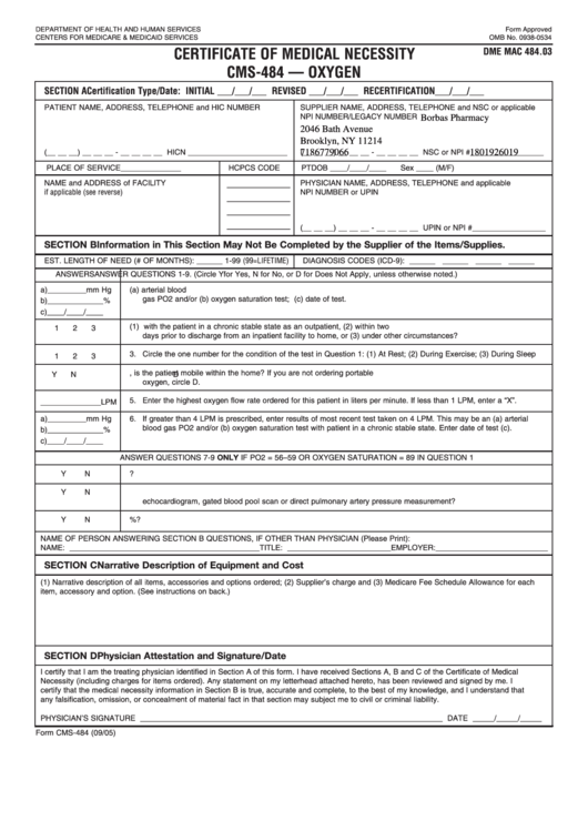 Form Cms-484 Certificate Of Medical Necessity Cms-484 - Oxygen 2005