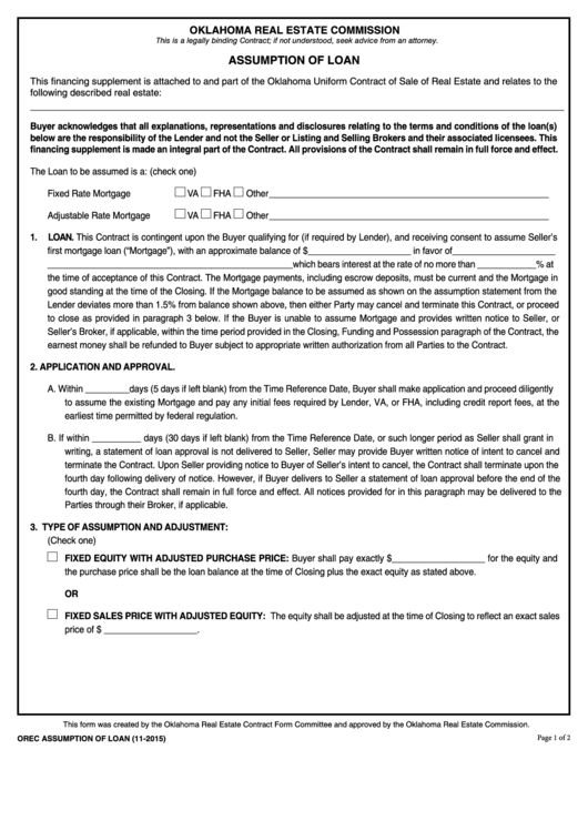 Fillable Assumption Of Loan Form - Oklahoma Real Estate Commission Printable pdf