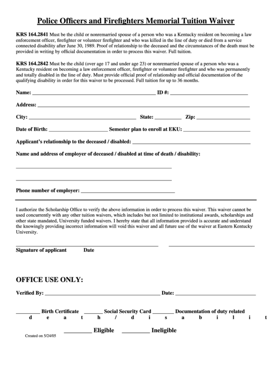 Police Officers & Firefighters Memorial Tuition Waiver Form