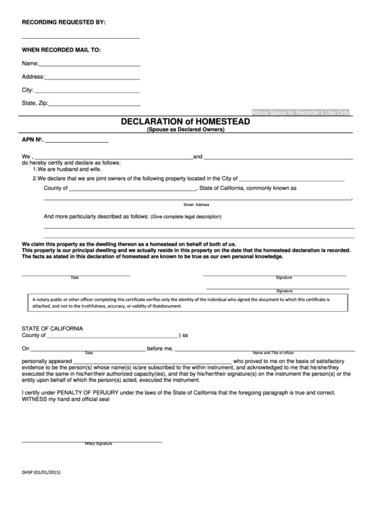 Fillable Declaration Of Homestead (Spouse As Declared Owners) - State Of California - 2015 Printable pdf