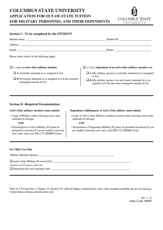 Application For Out-Of-State Tuition For Military Personnel And Their Dependents Form Printable pdf