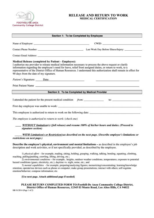 Medical Certification Form | Release And Return To Work Medical Certification Form Printable