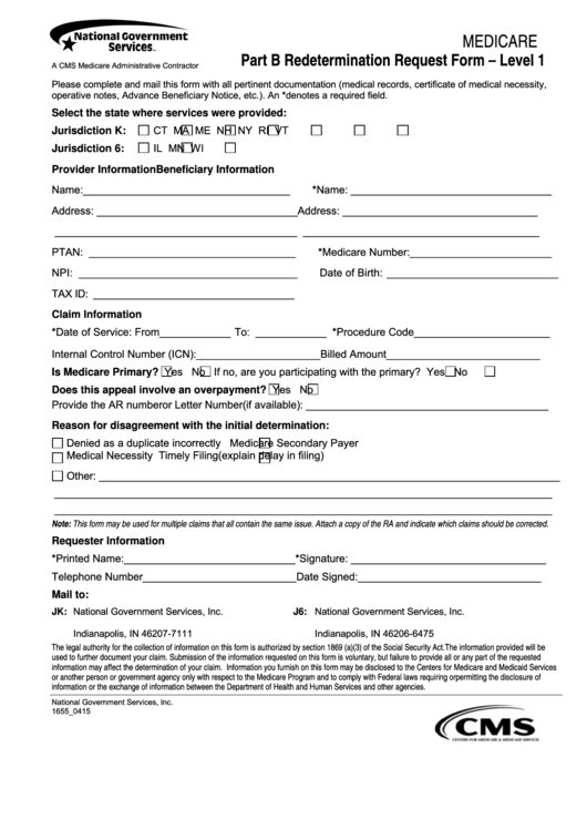 Part B Redetermination Request Form - Level 1 printable pdf download