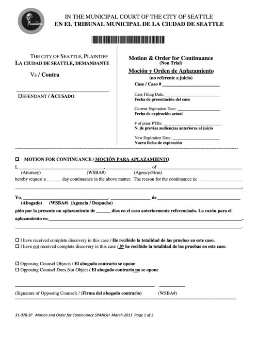 top 10 motion for continuance form templates free to download in pdf