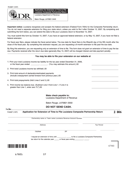 Form R-6467 - Application For Extension Of Time To File Louisiana ...