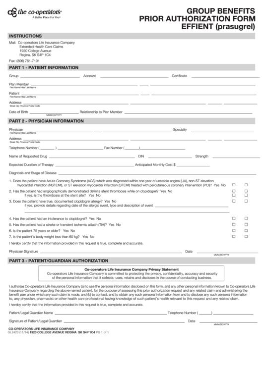 Form Gl2423 - Group Benefits Prior Authorization - Effient ...