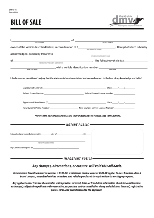 Fillable Bill Of Sale Form Printable pdf