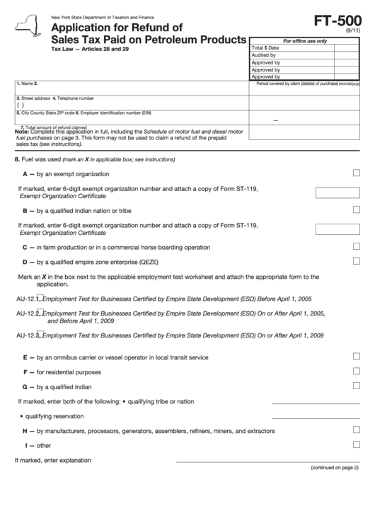 Form Ft 500 Application For Refund Of Sales Tax Paid On