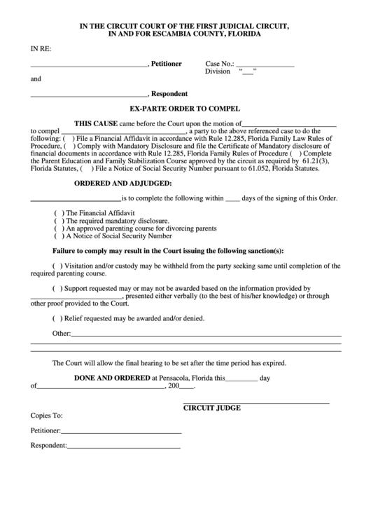 Ex-parte Order To Compel Form
