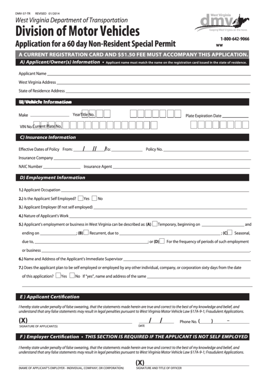 Form Dmv-37-tr - Application Form For A 60 Day Non-resident Special Permit West Virginia