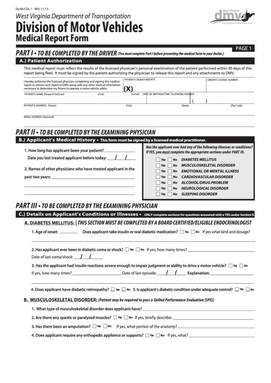 Form Dlab-cdl-1 - Medical Report Form