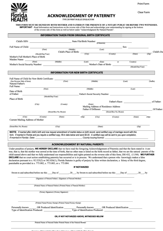 Fillable Dh Form 432 Acknowledgment Of Paternity Printable