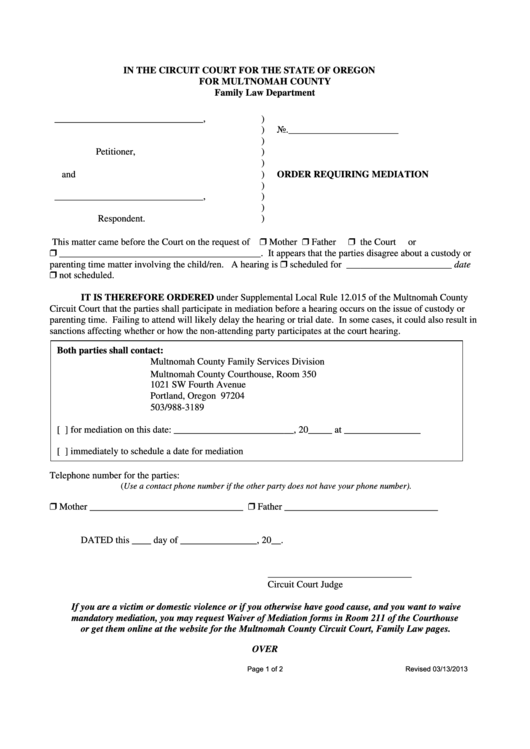 Order Requiring Mediation Form