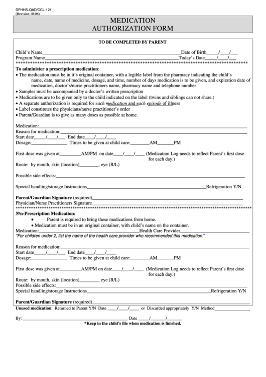 Dphhs-Qad/ccl-121 Medication Authorization Form Printable pdf