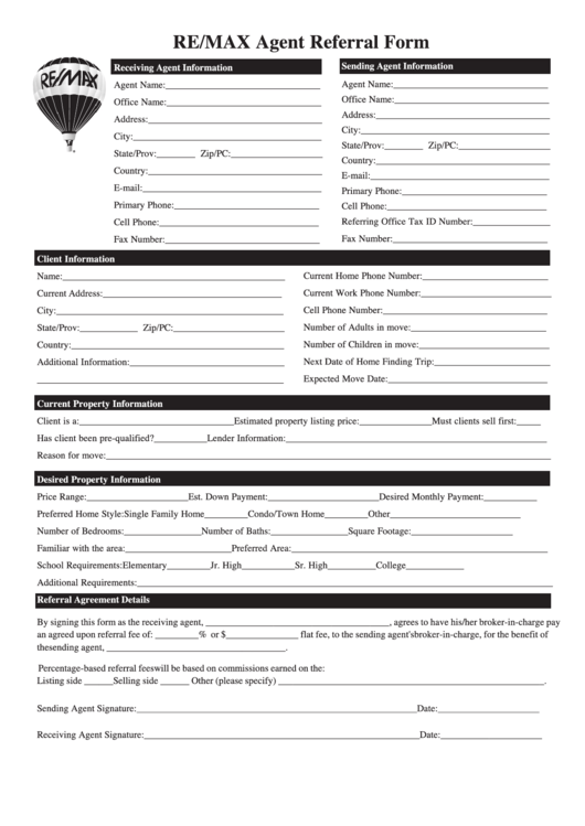 Fillable Agent Referral Form Printable Pdf Download
