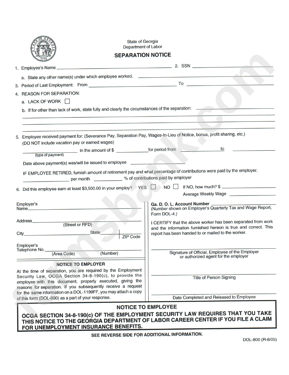 Separation Notice Template   State Of Georgia Department Of Labor ...