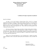 Certificate Of Foreign Corporation Amendment Form - Delaware Division Of Corporations