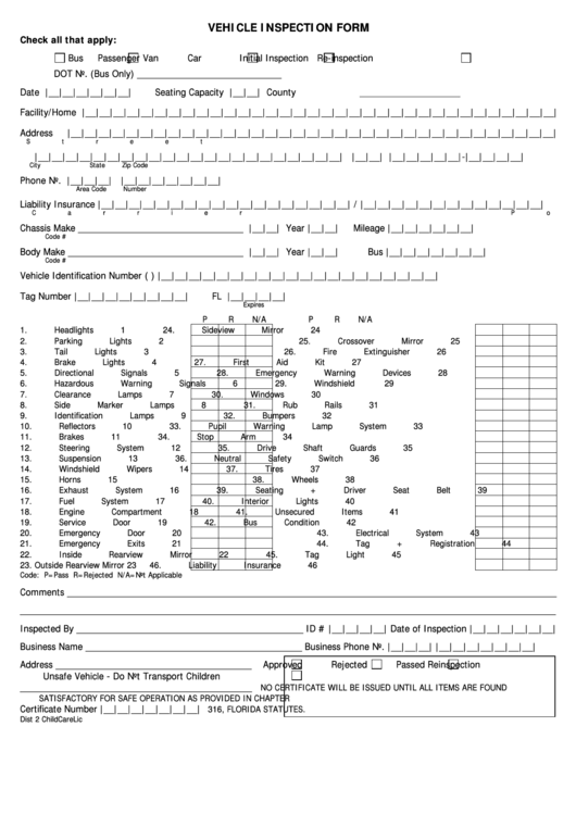 vehicle inspection form printable pdf download