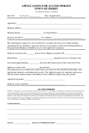 Application For Access Permit Form - Town Of Derby
