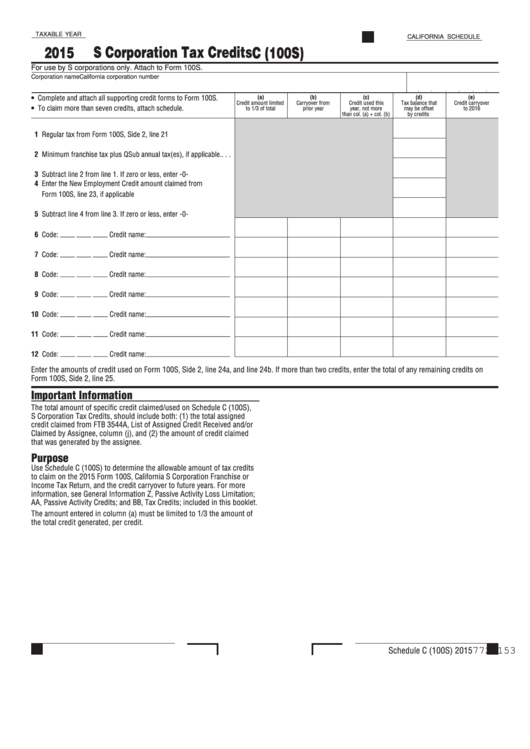 Fillable Schedule C (100s) - S Corporation Tax Credits Form - California Printable pdf