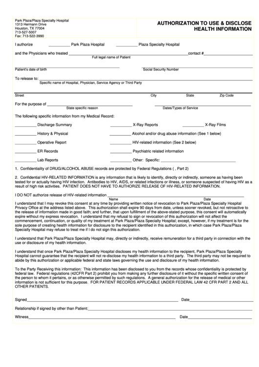 Authorization To Use & Disclose Health Information Form Printable pdf