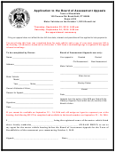 Application To The Board Of Assessment Appeals - Town Of Brookfield