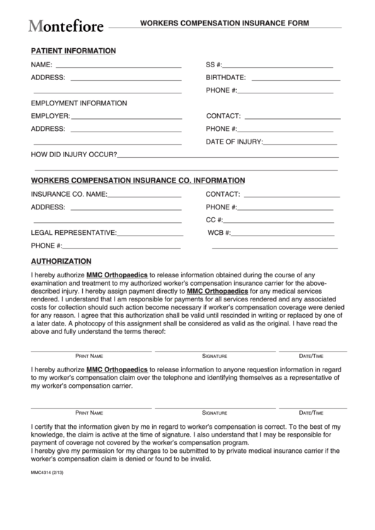 Mmc4314 Workers Compensation Form