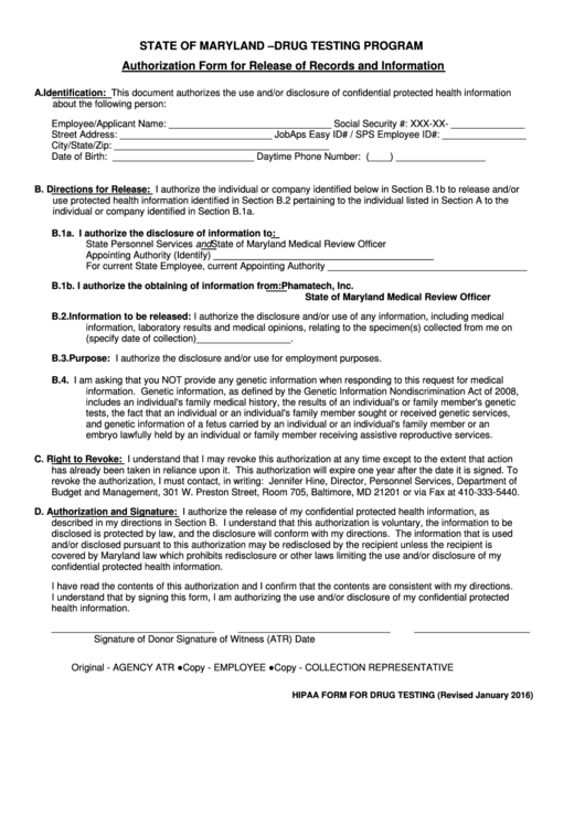 Authorization Form For Release Of Records And Information Form