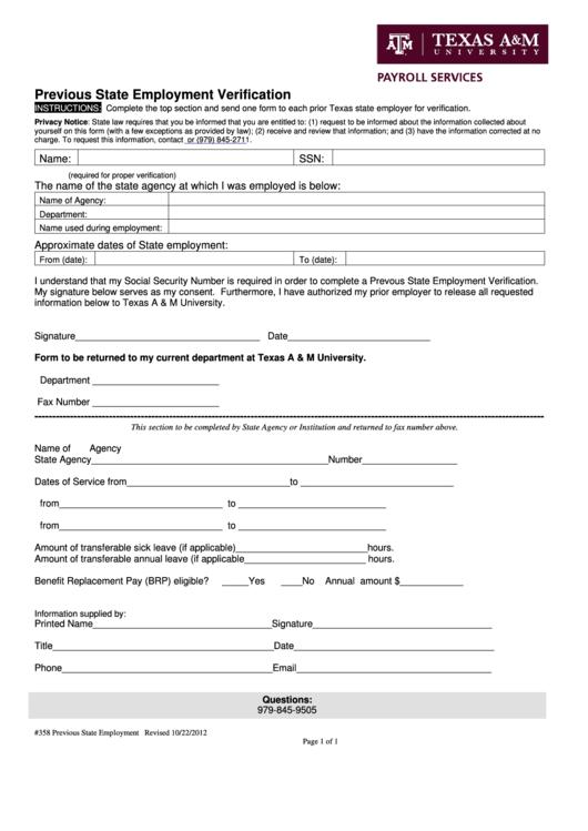 previous employment verification form pdf