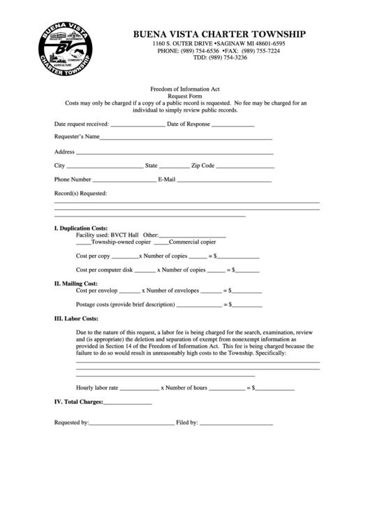 freedom of information act request form buena vista charter township printable pdf download. Black Bedroom Furniture Sets. Home Design Ideas